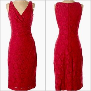 Ralph Lauren Red Lace Sheath Sleeveless Dress